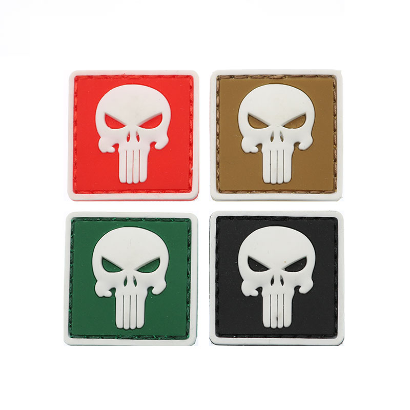 1pc Mini Rubber Skull Stereo Patch 3D PVC Frame Hook Mini Tactical Badge Military Military Battle Arm Band 3cm
