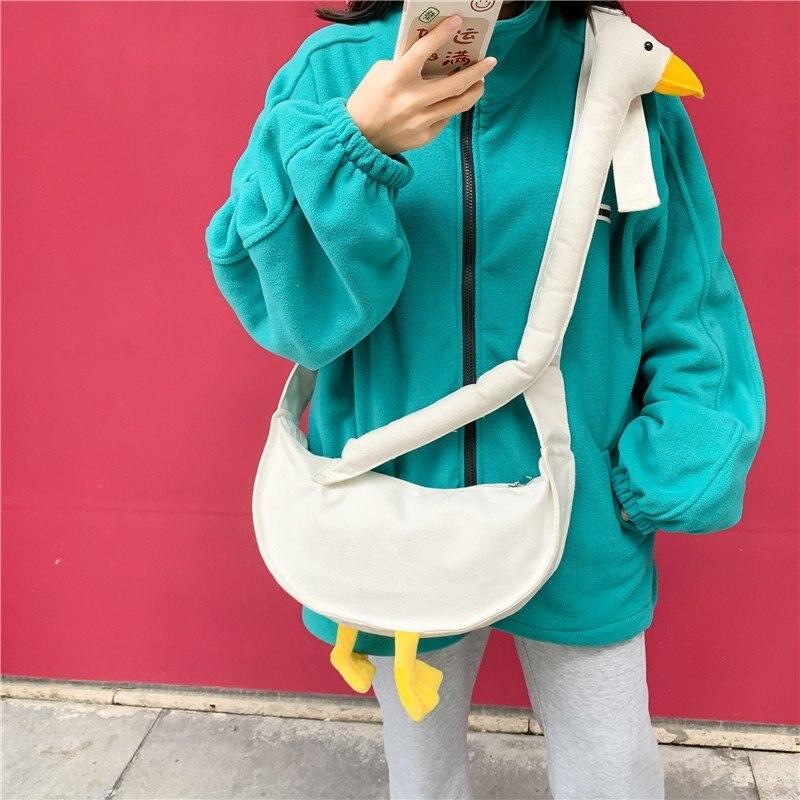 Summer Canvas Bag Women's 2021 Trend Cute Goose Shopper Bag Woman Cartoons Girl Casual Messenger Bag Funny Shoulder Bag Female