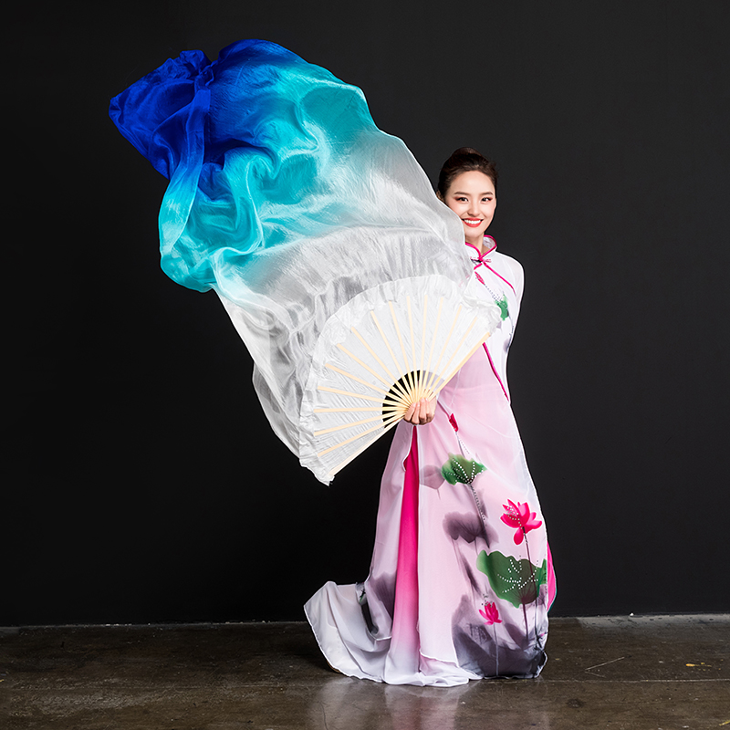 Image 5 - New Arrivals Women Belly Dance Fan Veil Hand Made White Navy Blue Gradient Silk Veil Pairs 180x90cm Girls Women Stage Show PropsBelly Dancing   -