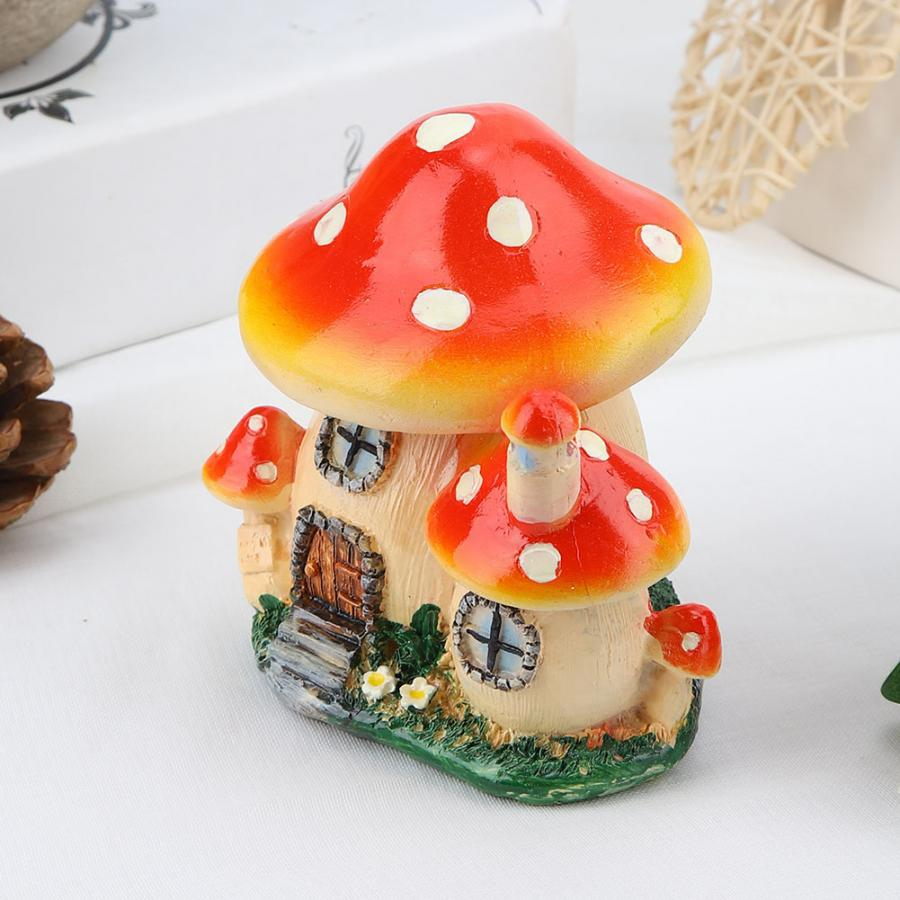 Miniature Dollhouse FAIRY GARDEN ~ Red Mushroom Houses with Pick ~ NEW