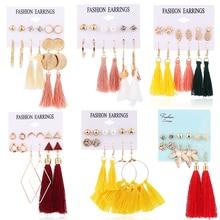 HOCOLE Fashion Long Tassel Earrings Set For Women Bohemian Geometric Drop Dangle Earring Female 2019 Brincos Jewelry Party Gifts