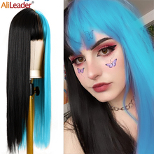 Cosplay Wig Costume Bangs Synthetic-Wig-26inch Party Straight Black Women Long Alileader