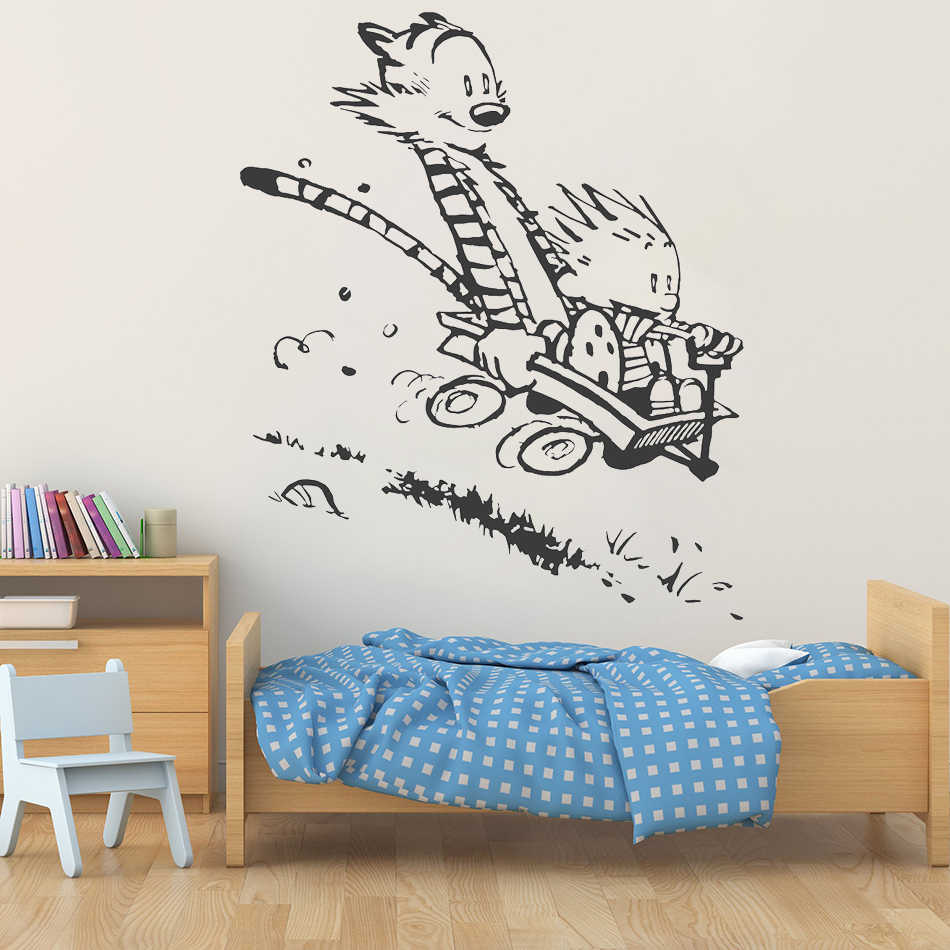 Wall Decal Vinyl Sticker Calvin and Hobbes Home House Living Room Kid Boy  Girl Bedroom Art Decoration Poster Mural Paper WW-307