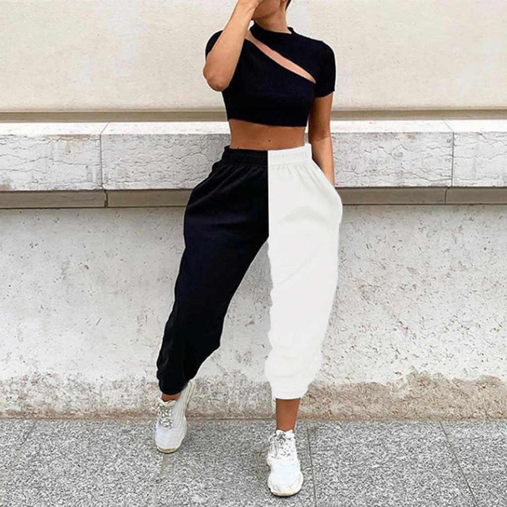 Pantalones Bombachos Deportivos Para Mujer Pantalon De Cintura Alta Blanco Y Negro Holgado Informal Para Otono E Invierno Pantalones Y Pantalones Capri Aliexpress