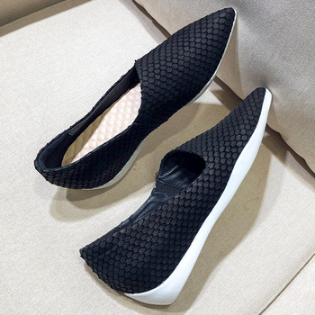 Women's genuine leather slip-on flats loafers leisure soft comfortable espadrilles pointed toe casual sneakers shoes for women