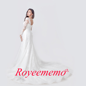 Image 3 - 2020 Elegant Lace Appliques long Sleeve Mermaid Wedding Dress Illusion Back Vintage Bridal Gown vestido de noiva Custom Made