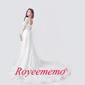 Image 3 - 2020 אלגנטי תחרת אפליקציות שרוול ארוך בת ים שמלות כלה אשליה חזרה בציר כלה שמלת vestido דה noiva תפור לפי מידה
