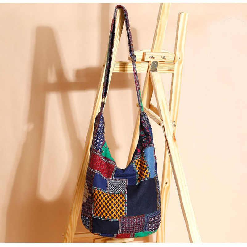 Saco Sacos Do Vintage Boêmio Moda Feminina Shoulder Messenger Bag Crossbody Ajustável de Alta Qualidade Bolsas de Lona de Algodão das Mulheres
