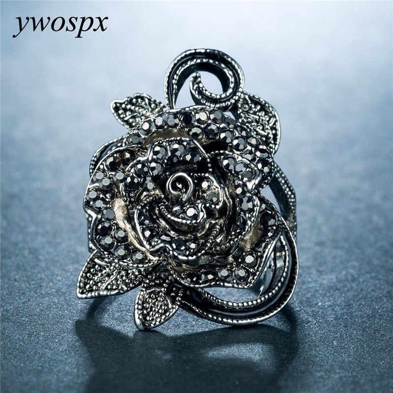 YWOSPX נשים שחור/לבן אבן תכשיטי סטי 925 רסיס צבע מעוקב זירקון פרחי עגילים + טבעות תכשיטים