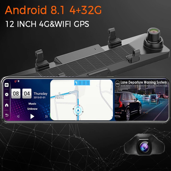 4G 12 Inch Android 8.1 4G+32G Car Rearview Mirror Stream Media GPS Navi Dash Cam Dual 1080P Camera Car Dvr ADAS Super Night image