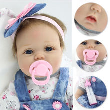 Lifelike Reborn Baby Doll Girl 55 cm 22 inches Soft Silicone Vinyl Newborn Simulation Magnetic Toys