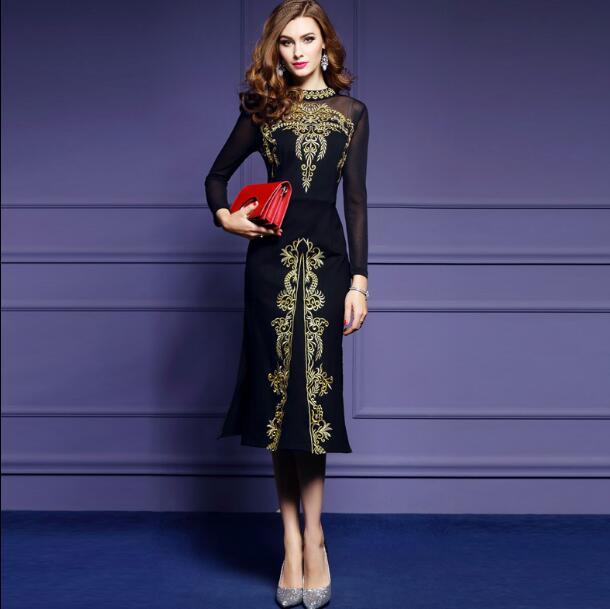 Embroidery Black Vestidos Dress