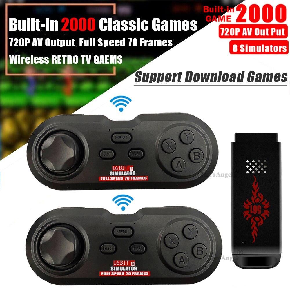 USB Wireless Handheld Classic Game Stick TV Video Game Console 16Bit Mini Retro Controller Build 2000 Games AV Output DualPlayer