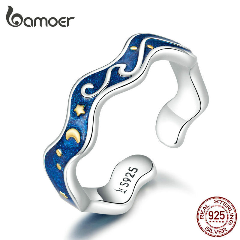 Bamoer Sterling Silver 925 Lover Rings For Couple Blue Starry Sky Of Van Gogh Open Finger Ring Design Jewelry Accessories SCR608