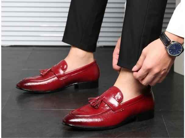 Herren-slip-on quaste Kleid Schuhe Leder Wohnungen Hochzeit Büro Oxfords Schuhe Für Männer spitz Formale schuhe große größe 47 48