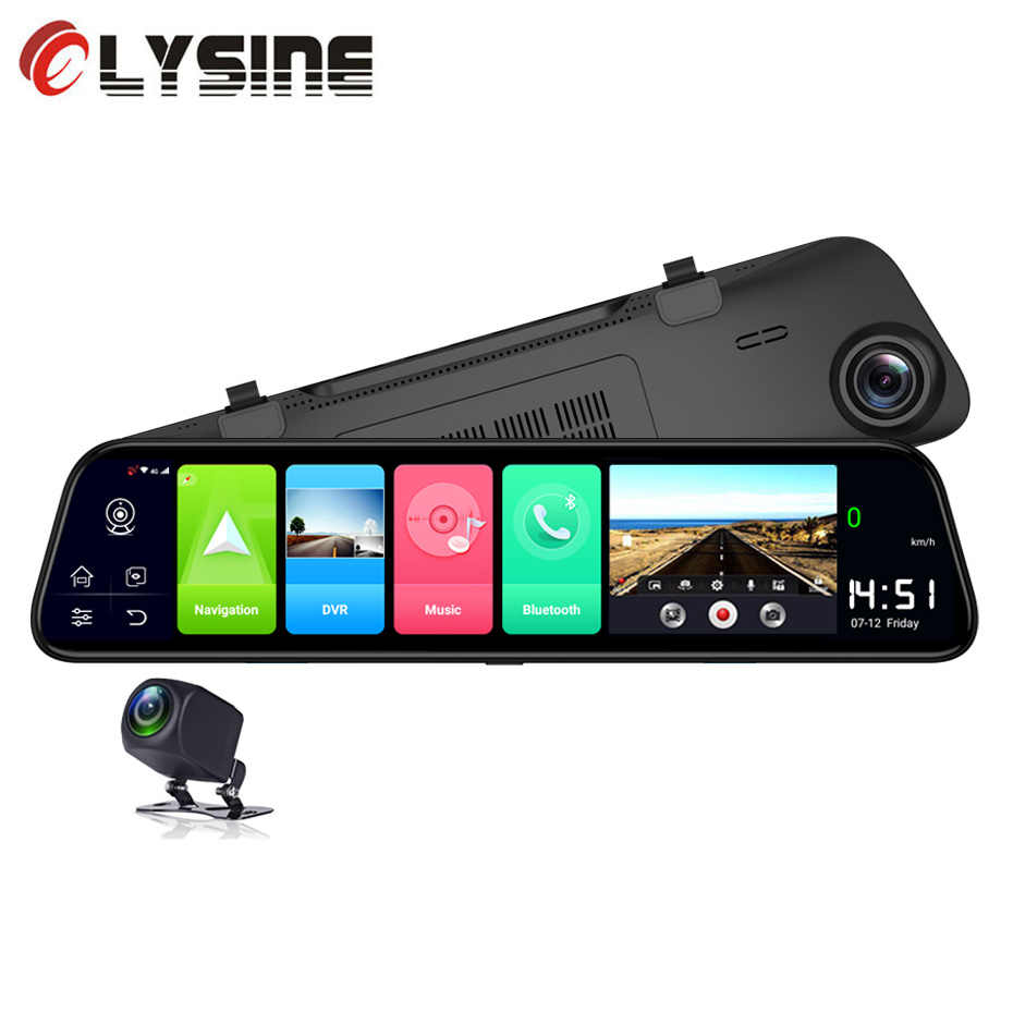 "Olysine 12 ""Kaca Spion Mobil DVR 4G Android 8.1 Dash Camera 2G Ram 32G ROM GPS navigasi Adas Wifi Dash Cam Perekam Video"