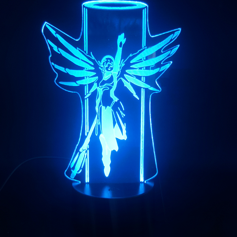3D Lamp Game Overwatch Hero Mercy Colorful With Remote Battery Powered Hologram Visual Light Effect Usb Led Night Light Lamp