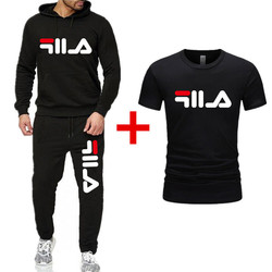 Men Casual Sports Hoodie Athletic Pants T-shirt 3 Pieces Printed Letter Hoodie Men's