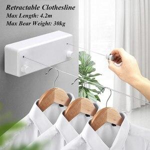 Linha de roupas secador retrátil acessórios do banheiro rack de secagem branco varal rack secador de roupa dupla camada estiramento