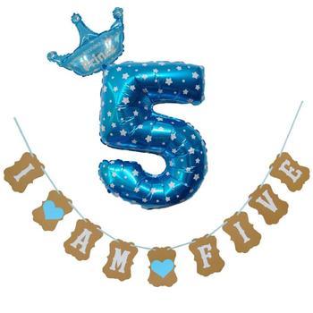 ¡Novedad! Lote de 1 Bandera de papel Kraft I Am Five, decoración de 5 años para cumpleaños de niña y niño, decoración para fiestas, regalos de globos de cumpleaños