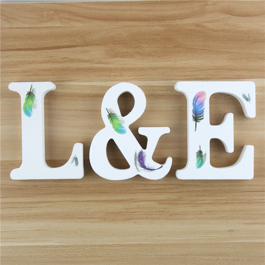 1pc 10cm Wooden Letters Alphabet Feather DIY Design Art Crafts Name Word Letter Standing Birthday Home Decor Height 3.94 Inches