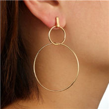 цена на Simple Geometric Round Dangle Earrings Double Hollow Circle Fashion Drop Earrings For Women Statement Jewelry Party Gift WD681