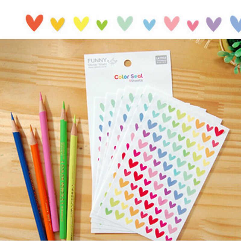 Warna-warni Lucu Dot Cinta Bintang Bentuk Mainan Kertas Stiker Buku Harian Jurnal Scrapbook Dekoratif Stiker untuk Anak-anak Klasik Mainan