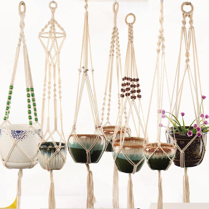 New Knotted Macrame Plant Hanger Cotton Linen Flower Basket Lifting Rope Hanging Basket Pot Holder Balcony Garden Decoration