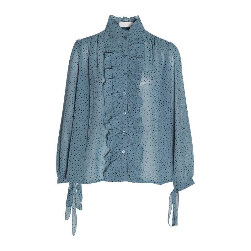 TWOTWINSTYLE Verão Dot Coreano Camisas das Mulheres Gola Bandage Bow Puff Luva Ruffles Chiffon Blusa Top Feminino Moda de Nova