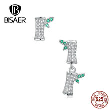 BISAER Stud Earrings Real 925 Sterling Silver Plant Bamboo Shape Earrings for Women Cubic Zirconia Fashion Jewelry HVE188 bisaer stud earrings real 925 sterling silver star shape long earrings for women clear cubic zirconia fashion jewelry hve154