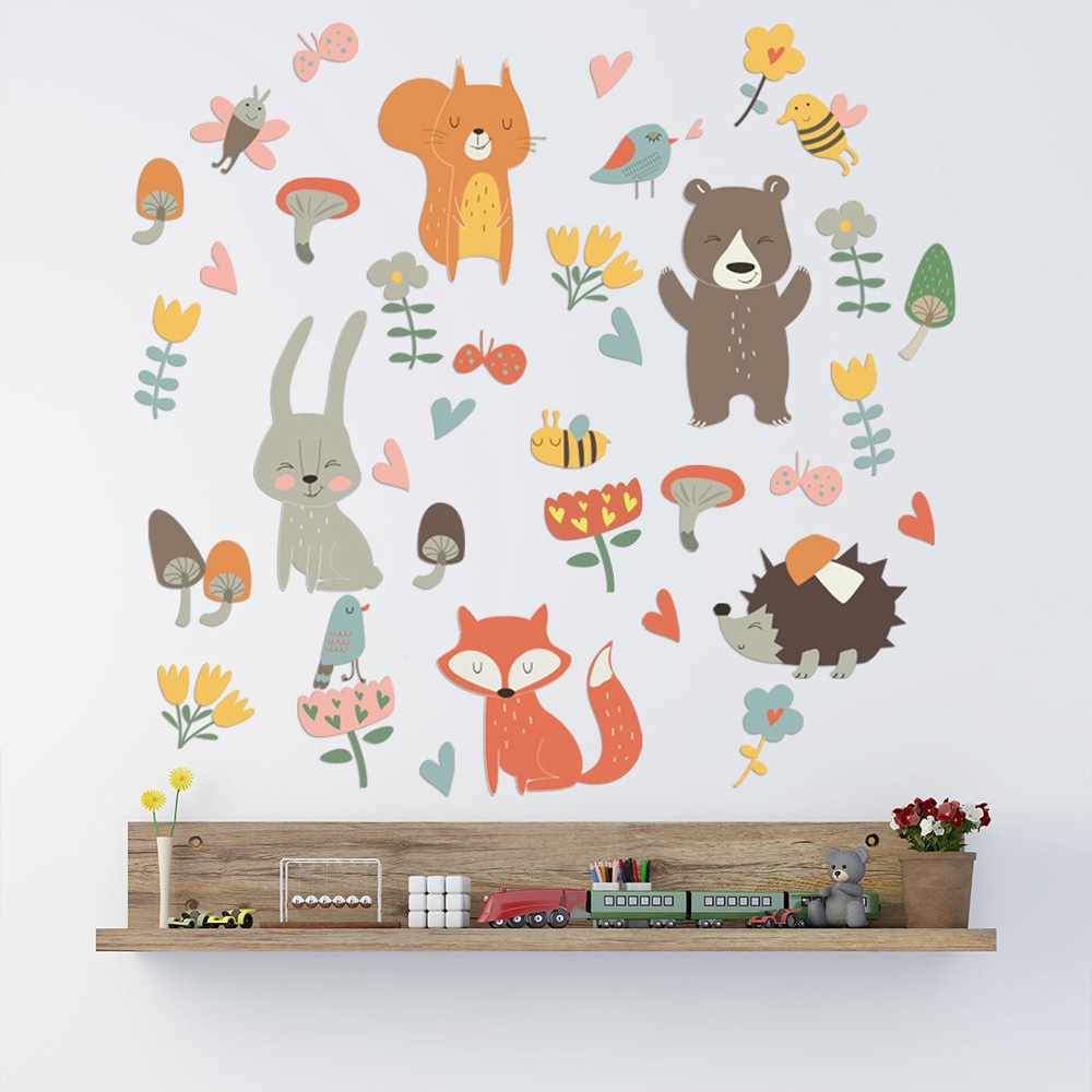 Forest Animal Party Wall Sticker For Kids Rooms Bedroom Decorations Wallpaper Mural Home Art Decals Cartoon Combination Stickers