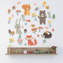 Autocollant Mural de fête Animal de la forêt pour enfants, décorations de chambre à coucher, papier peint, sparadrap artistiques pour la maison, combinaison de dessins animés