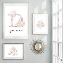 Criativo alfabeto flores pintura a óleo da lona 26 letras iniciais nome poster personalizado arte da parede fotos decoração casa hogar moderno