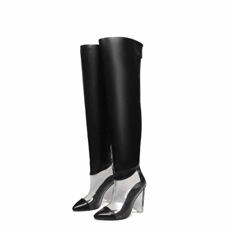 MStacchi ผู้หญิงฤดูหนาวโปร่งใสเข่ารองเท้าผู้หญิง Pointed Toe 12 ซม.คริสตัลส้นสูงปั๊มเงินแฟชั่นสุภาพสตรีรองเท้า