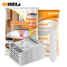 ONKEL.J 6PCS Convenient Vacuum Bag Storage Organizer Transparent Clothes Organizer Seal Compressed Travel Saving Space Bags