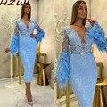 Светильник-Голубые Вечерние платья с перьями длинными рукавами кружевное платье-Русалка для выпускного вечера с бусинами и поясом арабско...