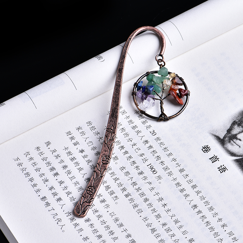 1PC Natural Crystal Mineral Ornaments Tree Of Life Bookmark Student Book Labels Literature Gifts Stationery Free Shipping