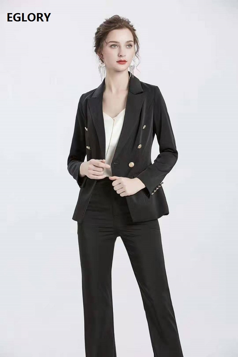 High Quality Blazer Sets 2020 Spring Autumn Notched Collar Golden Button Blazer Coats+Full Length Pink Black Pant Sets Female