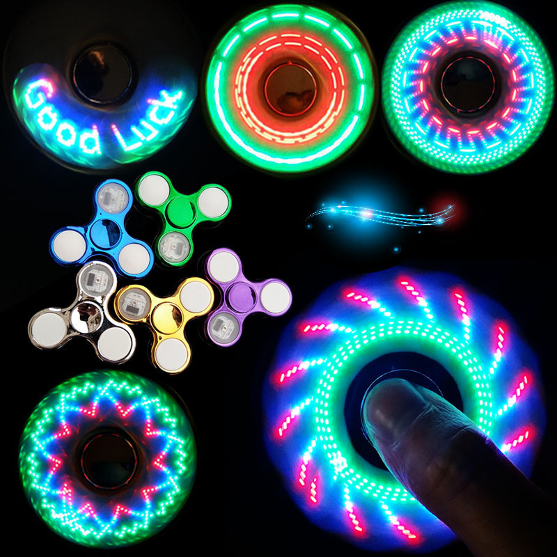 Luminous LED Light Fidget Spinner Hand Top Spinners Glow In Dark Light EDC Figet Spiner Finger Stress Relief Toys Figet Spinner