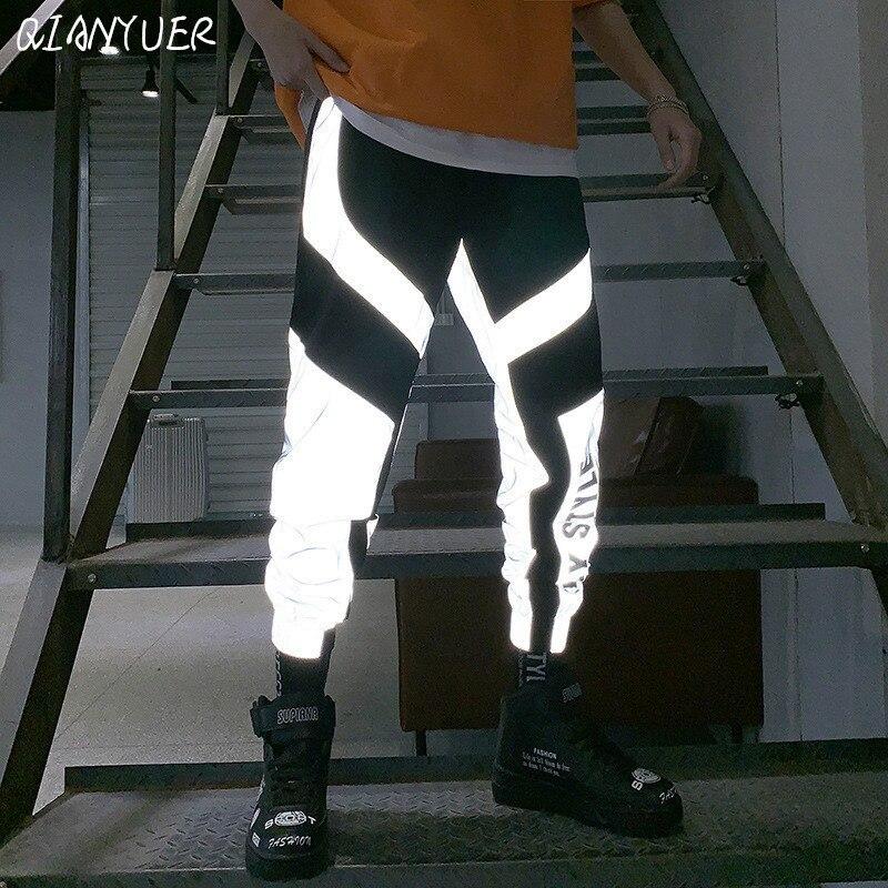 Large Size Striped Reflective Pants Men's 2019 Hip-hop Casual Tooling Sports Pants Trousers Men's Street Fashion Men's Trousers