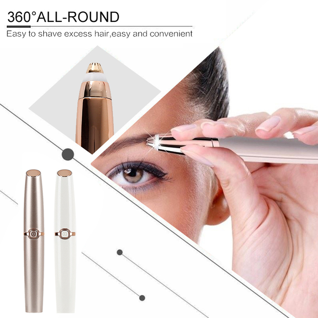 New Electric Eyebrow Trimmer Eye Makeup Care Lipstick Brows Pen Hair Remover Painless Eyebrow Razor Epilator with LED Light 2