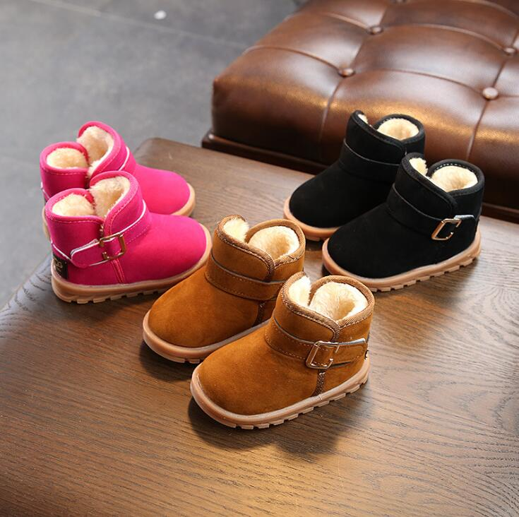 2019 New Winter Plush Baby Girls Snow Boots Warm Shoes Baby Toddler Shoes Outdoor Snow Boot Waterproof Girls Kids Sneakers