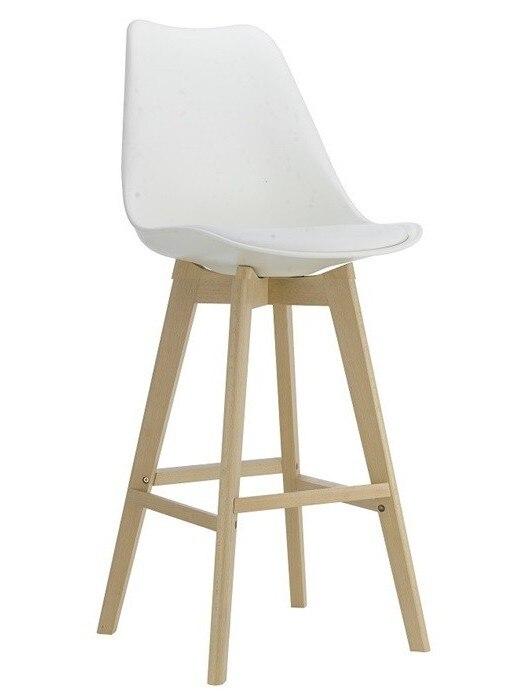 Stool TOWER, Wood, White, White Cushion