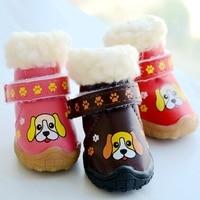 Paw Print Wasserdichte Winter Schuhe Für Hunde Regen Schnee Warme Haustier Stiefel Für Kleine Tier Welpen 4 teile/satz Chihuahua Yorkshire mops Shop