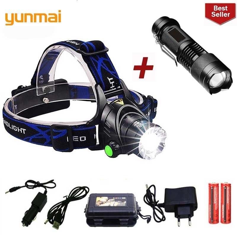 2019 Yunmai New Led Headlamp T6 Zoom Waterproof Flashlight Head Luminaria Head Flashlight Camping Head Lamps Use 18650 Battery