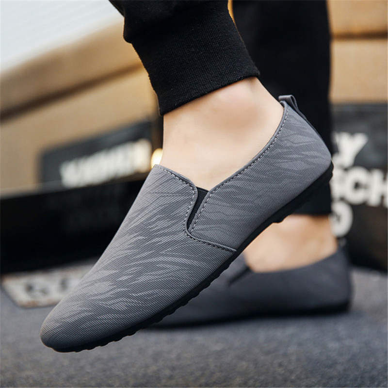 Mens Flats Canvas Driving Moccasins Shoes Boards Sneakers Breathable Lace up B