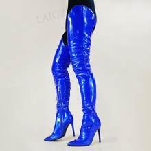 LAIGZEM – bottes brillantes à entrejambe pour femmes, fermeture éclair latérale, talons hauts Slim, cuisses hautes, chaussures pour femmes, taille 44 46 47