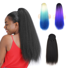 Synthetic Ponytail Hairpiece Yakima Women Hair-Bun Curly Straight Long for Colorful