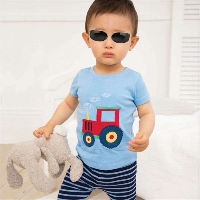 Jumping Meters New Boys Cotton Tops for Summer Children Clothes Hot Selling Stripe Applique tractor Kids T shirts 5