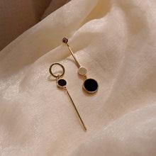 Элегантные противоположные черные золотые серьги xiyanike модные